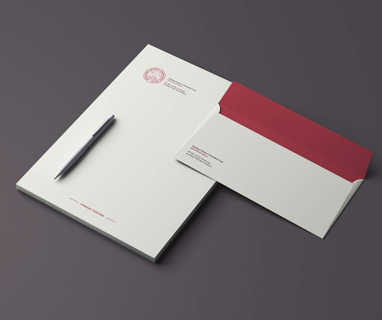 Northern Drivers' Charitable Trust letterhead and envelope